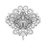 Лотос татуировки вектора орнаментальный Стоковое Изображение