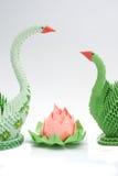 Лотос Origami с лебедями Стоковая Фотография