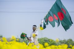 Лоточница продает бангладешские национальные флаги на поле мустарда на Munshigonj, Дакке, Бангладеше стоковое изображение rf