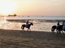 Лошадиные скачки на пляже Sanlucar de Barrameda, Кадиса Стоковые Изображения