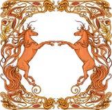 2 лошади фантазии в флористической рамке иллюстрация вектора