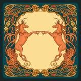 Лошади фантазии в флористической рамке иллюстрация штока