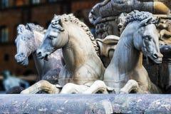 Лошади фонтана Нептуна в Флоренсе Стоковая Фотография RF