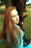 лошадь девушки Стоковые Фотографии RF