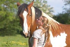 лошадь девушки Стоковое Изображение