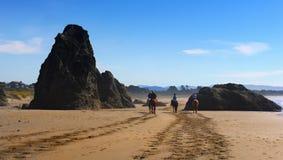Лошадь едет сценарный пляж, Тихоокеанское побережье Орегона Стоковое фото RF