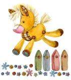 Лошадь животноводческая ферма шаржа иллюстрация штока