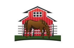 Лошадь и амбар Стоковые Фото