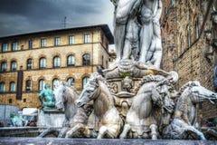 Лошади в статуе Нептуна в della Signoria аркады Стоковые Фото