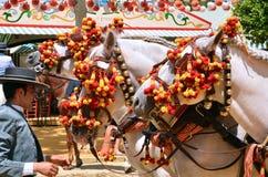 Лошади экипажа с кучером во время фестиваля весны 201 Севильи Стоковые Фотографии RF