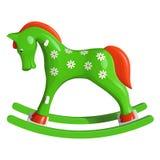 Лошадь зеленых детей тряся, покрашенная с белыми маргаритками, с оранжевыми гривой и кабелем Стоковая Фотография