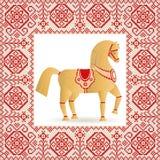 Лошадь и вышивка соломы Стоковые Изображения