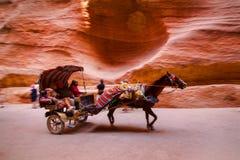 Лошадь и телега быстро проходя через Siq Стоковое Изображение RF
