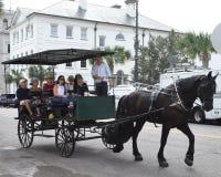 Лошадь и экипаж путешествуют вокруг Чарлстона, Южной Каролины стоковые фотографии rf