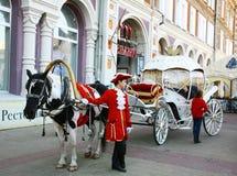 Лошадь и экипаж с кучером стоковые фотографии rf