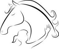 Лошадь и девушка Стоковое Изображение RF