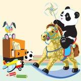 Лошадь катания панды шаржа тряся иллюстрация вектора