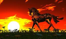 Лошадь металла в луге иллюстрация штока