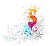 Лошадь моря нарисованная с краской Стоковое Фото