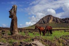 Лошадь около статуй на Isla de Pascua Rapa стоковое изображение