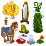 Лошадь, птица, лягушка и детали волшебства вектор иллюстрация вектора