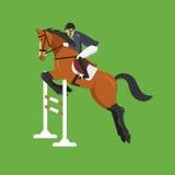 Лошадь скача над загородкой, конноспортивным спортом Стоковые Изображения