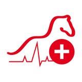 Лошадь с перекрестным символом на белой предпосылке иллюстрация штока