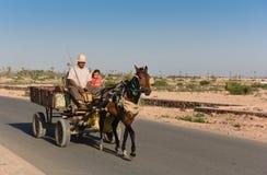 Лошадь & тележка в Марокко Стоковое фото RF