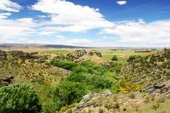 Луга и холмы на следе рельса Otago центральном, Новой Зеландии Стоковые Изображения