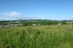 Луг лета травянистый с деревней и холмами на заднем плане Стоковые Изображения RF
