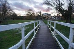 Луг Кембриджа на заходе солнца Стоковое Изображение RF