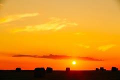 Луг поля лета с силуэтами связок сена под солнечным светом захода солнца Стоковые Изображения RF