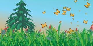 Луг с бабочками бесплатная иллюстрация