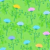 Луг с цветками, картина зеленой травы лета безшовная Стоковые Изображения RF