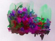 Луг цветка фантазии предпосылки искусства акварели красочный одичалый Стоковое Изображение
