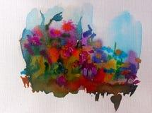 Луг цветка фантазии предпосылки искусства акварели красочный одичалый Стоковое Фото