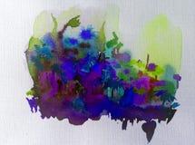 Луг цветка фантазии предпосылки искусства акварели красочный одичалый Стоковые Фото