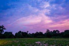 Лужайка ширины с небом после захода солнца стоковые фотографии rf