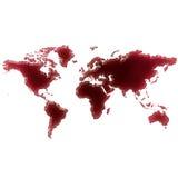 Лужа крови (или вино) которая сформировала форму мира ( Стоковые Изображения