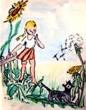 лужок девушки кота Стоковая Фотография RF
