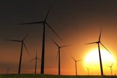 лужок 3d представляет windfarm захода солнца Стоковые Изображения RF