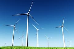 лужок 3d представляет windfarm Стоковая Фотография