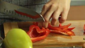 Лук вырезывания женщины и красный пеец и варить quesadilla сладкого картофеля видеоматериал