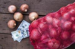 Лук, изображения лука в больших сумках, картины луков зимы, лук и овощи в больших сетях Стоковые Изображения RF