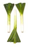 Лук-пореи на белой предпосылке   Стоковая Фотография RF