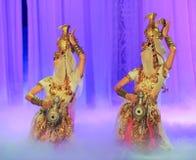 Луна балета танца-Hui бака сокровища над Helan Стоковое Изображение RF