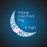 Луна валентинок сделанная от сердец Ноча влюбленности Стоковое Фото
