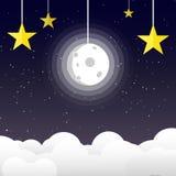 Луна в ночном небе со звездами на предпосылке космоса и галактики, липкой жидкости иллюстрация штока