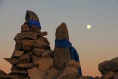 Луна в прерии в Wulanbutong в Внутренней Монголии стоковые изображения
