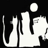 луна города кота Стоковая Фотография RF